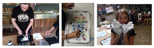 paper marbling collage